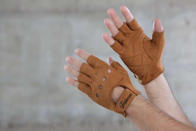 """f282edf3a6c347 Handschuhe Cicli-Franconi """"urban premium"""" Wildleder Hellbraun"""